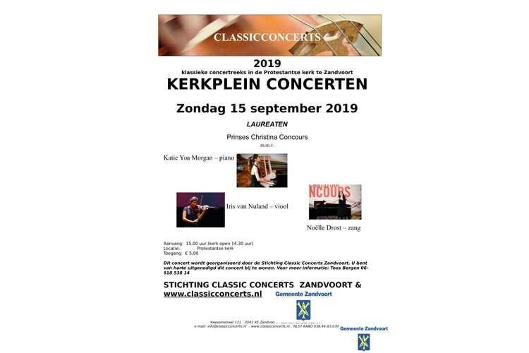 Laureaten Prinses Christina Concours in Kerkpleinconcert