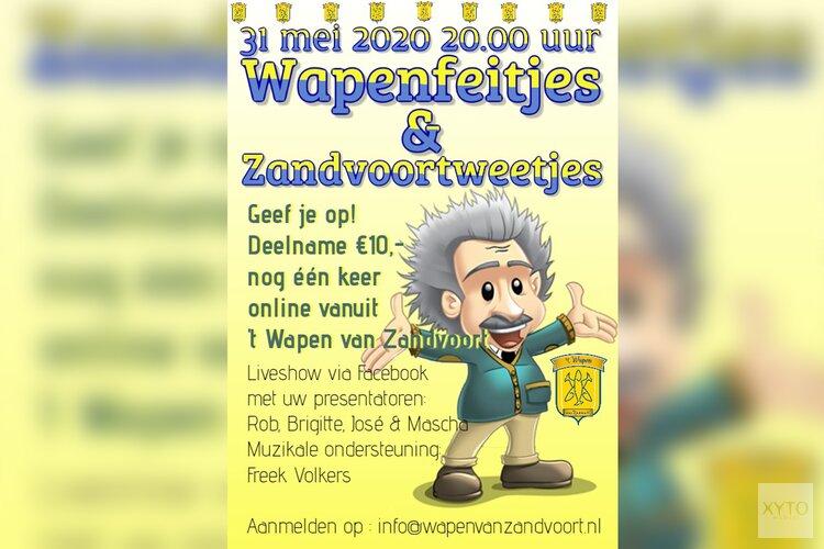 31 mei 2020 om 20.00 uur nog één keer live vanuit 't Wapen van Zandvoort!